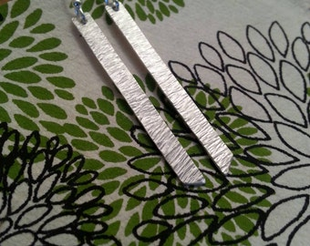 SALE - Completely Handmade Fine Silver Bar Earrings, Hand Textured Like Crinkled Paper, Delicate and Simple, Gift Wrapped