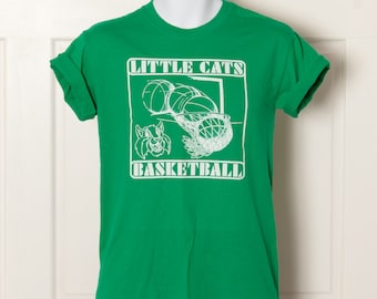 LITTLE CATS Basketball - green tshirt - Small