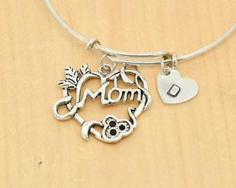 Mom Heart Bangle, Sterling Silver Bangle, Adjustable Bangle, Bridesmaid Gift, Initial Bangle, Personalized Bangle, Charm Bangle, Monogram