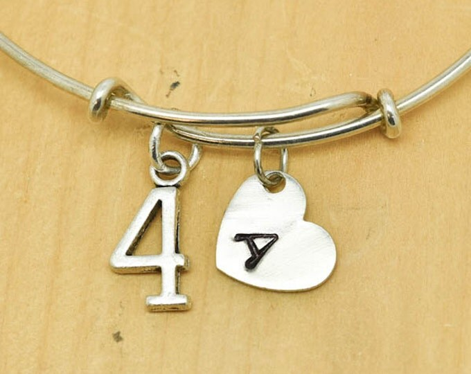 Number Four Bangle, Sterling Silver Bangle, 4 Bracelet, Bridesmaid Gift, Personalized Bracelet, Charm Bangle, Monogram,Initial Bracelet