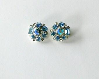 lisner Big Rhinestone and Glass  clip Earrings