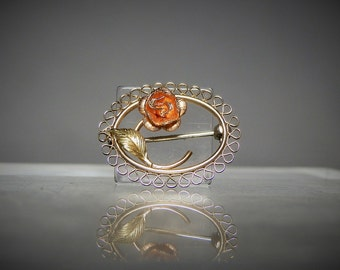 Vintage Krementz Gold Filled Brooch Pin 21 mm wide Flower Design Gift Quality Ready to Wear DanPickedMinerals
