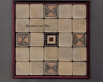 Seega Game Board with Greek geometric pattern - made of Glazed ceramic tiles -in beige, dark brown, red and black color