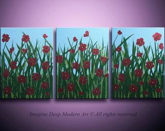 HUGE 40%off SALE Painting Red Flower Sky Blue Green Gold Field of Flowers Huge 24x54 Three Piece High Quality Original Modern Fine Art