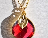 SALE Garnet Necklace - January Birthstone Personalized Necklace - Garnet Jewelry