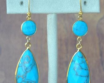 SALE Large Turquoise Earrings - December Birthstone Earrings - Turquoise Jewelry