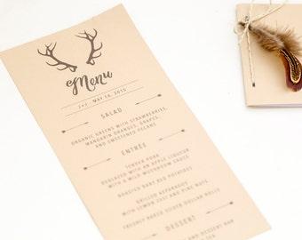 Printable Rustic Wedding Menu with Deer Antlers / print at home, custom, wedding reception, dinner menu, rehearsal dinner, garden, nature