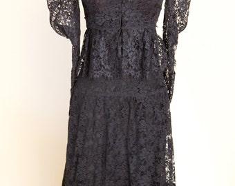 Three Piece Black Lace Dress Set | Vintage Handmade Victorian Style | Gothic Black Lace Dress | Victorian Costume | Antique Black Lace Dress
