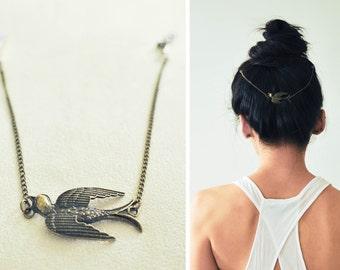 Boho Chic Hair Chain: Beautiful Swallow