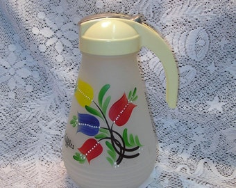 SALE Large 9  1/2 Inch Vintage Hazell Atlas Waffle Syrup Pitcher Frosted Glass Hand Painted Tulips