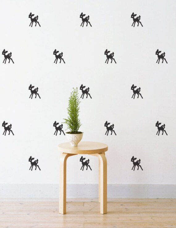 mini bambi wall patterns removable wall decal by nursery wall decal woodland forest animals bambi deer owls