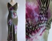 Vintage Olive Green Silk Bias Cut Tie Dye Dress XS or S