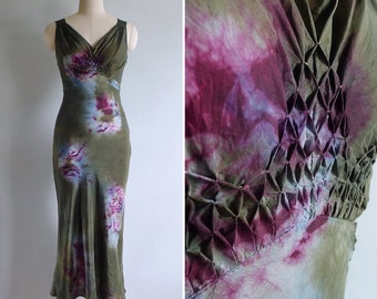 10 to 25% OFF (See Shop) Vintage Olive Green Silk Bias Cut Tie Dye Dress XS or S
