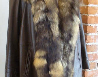 Vintage Racoon & Leather Swing Coat 1960's Wellesley Shop