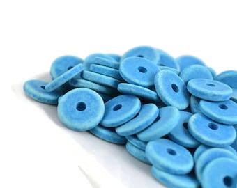 25 Mykonos Washer - 13mm Denim Blue - Greek Ceramic Round Washer Disk