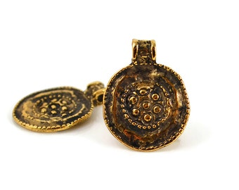 2 Mykonos Ancient Floral Medallion - 18mm Antique Gold - 24 Karat Gold