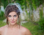 Birdcage Veil - Russian French Fishnet Wedding Veil, Traditional Bridal veil - ivory, white - VE411