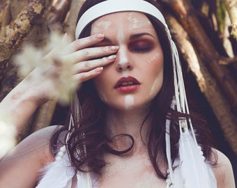 White leather and feather headband, leather festival crown, feather headpiece, fringe leather, dangling feathers