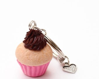 Cupcake with Chocolate Frosting Keychain
