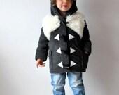Wolf duffle coat childrens dark grey white furry warm lined animal jacket cute woodland fox fluffy ears thick warm