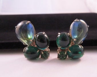 Vintage Blue and Green Clip earrings