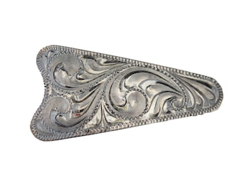 New Ear Arrow Concho Hansen Western Gear Engraved Antique Sterling Silver Overlay Headstall Belt Trim Hardware