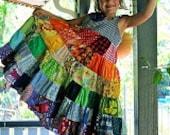 Rainbow dress patchwork dress, twirly twirler bright eco girls children sundress custom upcycled size 4 - 10 made to measure CUSTOM ORDER