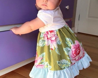CUSTOM ORDER EXAMPLES - Baby + Toddler girl floral dress with ruffle - made to order