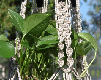 ENCHANTMENT - Handmade Macrame Plant Hanger Plant Holder with Wood Beads - 4mm Braided Poly Cord in PEARL