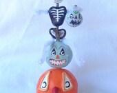 Handmade Sculpted Paper Clay Skeleton and Jackolanterns Vintage Inspired Halloween Decor