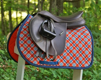 Ready to Ship - Orange and Navy Blue Plaid Close Contact Saddle Pad