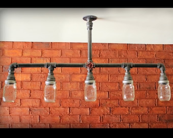 Mason Jar Chandelier Ceiling Light - Industrial Pipe light Farmhouse Mason Jar Industrial Kitchen Island light fixture, Bathroom Vanity
