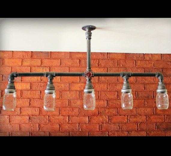 Mason Jar Chandelier Ceiling Light Industrial Pipe Light