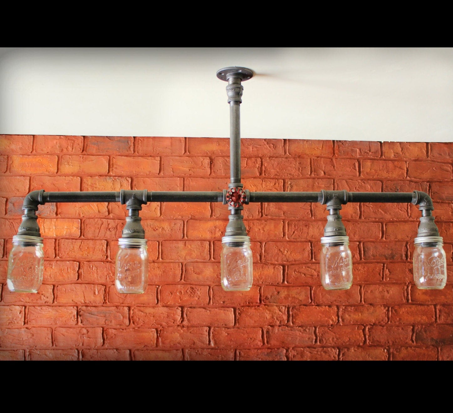 Mason Jar Chandelier Ceiling Light Industrial Pipe Light