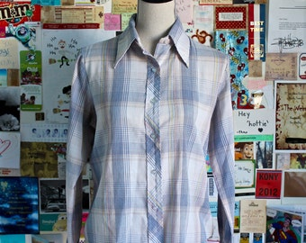 XMAS in JULY SALE : 1970s plaid kmart shirt