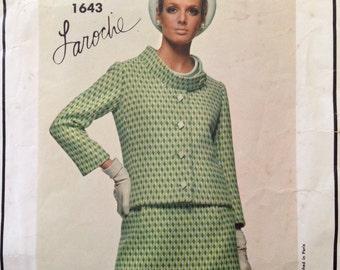 """Vintage 1960s Vogue Paris Original Laroche Misses' Suit Pattern 1643 Size 16 (36"""" Bust)"""