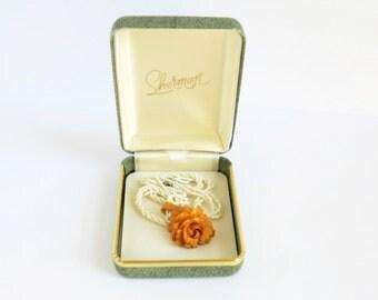 Carved Bakelite Butterscotch Vintage Bakelite Rose Pendant Necklace