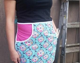 Clothespin Apron - Aqua & Pink