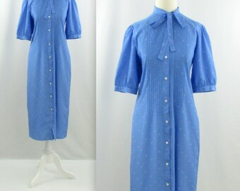 Jack Mulqueen Printed Midi Shirtdress - Vintage 1980s Secretary Bow Dress in Blue - Small