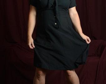 Hooked On Onyx 1960s Vintage Judy R by Reiner Black Slightly Sheer Short Sleeve W/ Rhinestone Buttons Tie Collar Sheath Dress Sz Large