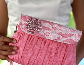 Pink Clutch linen and lace with pink and silver rhinestone brooch, fuchsia wedding clutch, bridesmaid gift, bridesmaid clutch