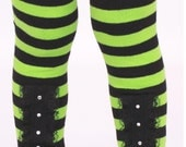 READY TO SHIP: Leg Warmers - Black and Green Stripe - Miss Magic -  Witch Costume Accessory - One Size
