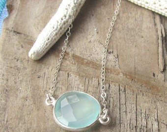 Delicate Layering Aqua Chalcedony Sterling Necklace on a Dainty Flat Link Sterling Chain, Lt Aqua Gemstone Necklace, Beachy, Summery, Gift