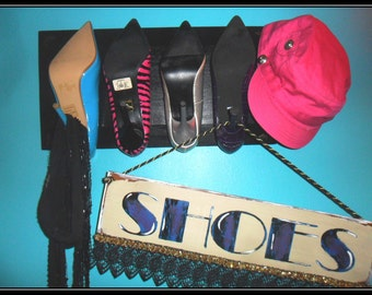Fashion accessory display hooks, Repurposed shoe plaque, Scarf display, Hat organization,Stiletto heels,high heel shoes,ladies display