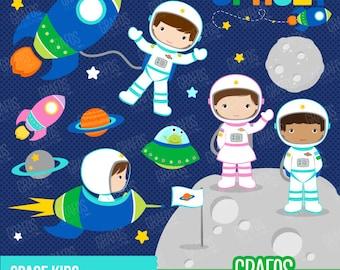SPACE KIDS - Digital Clipart Set, Space Clipart, Astronauts Clipart, Spaceship cliparts.