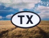 """Texas TX Patch - Iron or Sew On - 2"""" x 3.5"""" - Embroidered Oval Appliqué - Lone Star State - Black White Hat Bag Accessory Handmade USA"""
