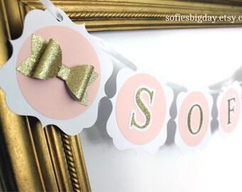 Pink & Gold Banner-Gold Banner-Banner-Happy Birthday Banner-Name Banner-Baby Shower-1st Birthday-Bridal Shower-Pink Banner-Gold Banner