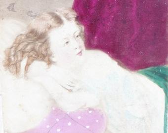 1867 Hand Tinted CDV Photo, BON-TON by J P Soule, Boston, Antique Colored Photograph
