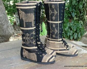 Vegan Womens Boots In Hand Woven Naga Boho Boots - Sadie