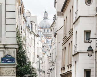 Paris Street Photograph, Rue de Bièvre and the Pantheon, Travel Architecture Photo, French Home Decor, Large Wall Art, Urban Wall Decor